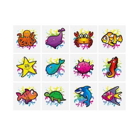 Sealife - Pack of 12 Mini Tattoos
